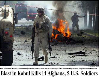 Blast in Kabul Kills 14 Afghans, 2 U.S. Soldiers