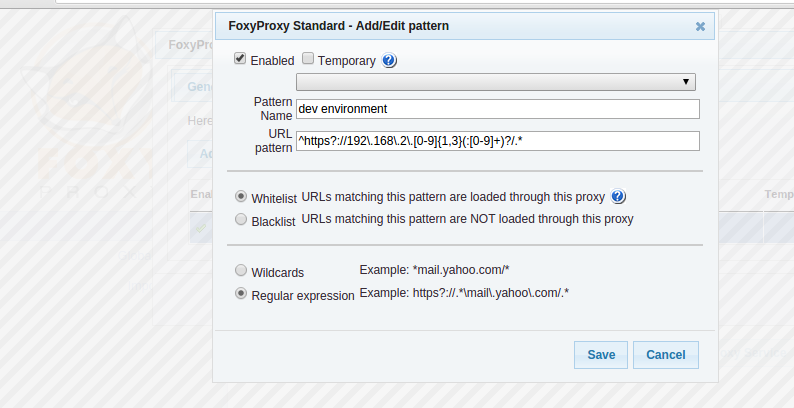 FoxyProxy Add New Pattern
